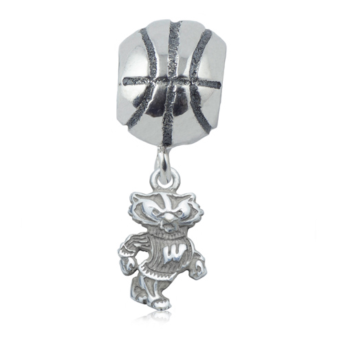 Sterling Silver University of Wisconsin Basketball Bead