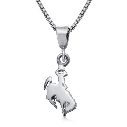Sterling Silver 16in University of Wyoming Charm Necklace