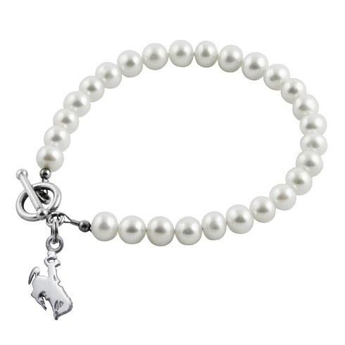 Sterling Silver University of Wyoming White Pearl Bracelet