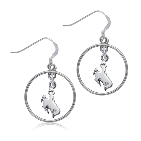 Sterling Silver University of Wyoming Open Drop Earrings