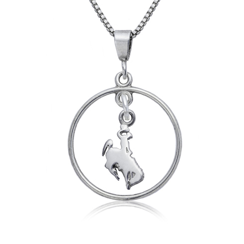 Sterling Silver University of Wyoming Open Drop Necklace