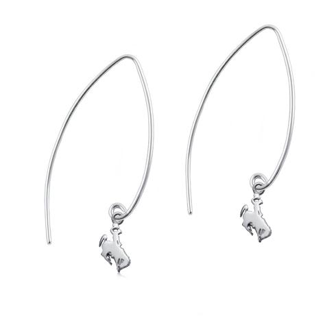 Sterling Silver University of Wyoming Long Fishhook Earrings