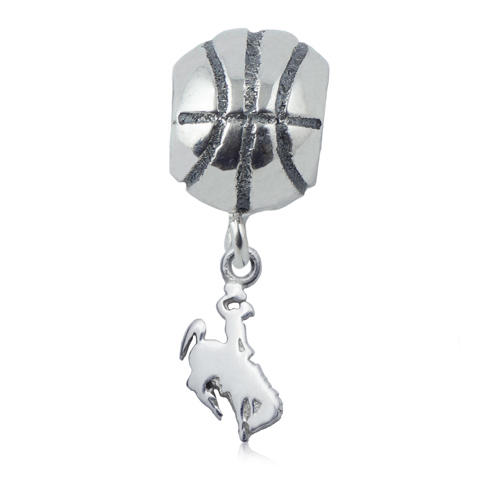 Sterling Silver University of Wyoming Basketball Bead
