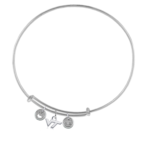 Sterling Silver Virginia Tech University Adjustable Bracelet with Charms