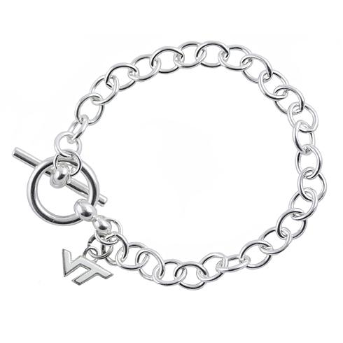 Sterling Silver 7 1/2in Virginia Tech Link Bracelet