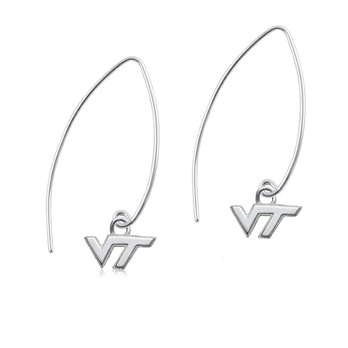 Sterling Silver Virginia Tech Long Fishhook Earrings