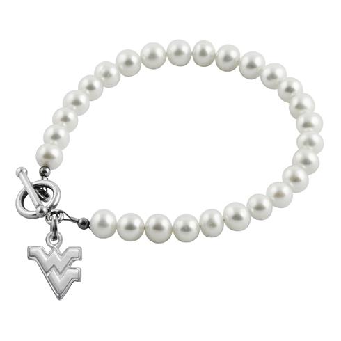 Sterling Silver West Virginia University White Pearl Bracelet
