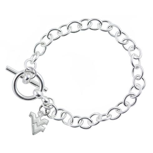 Sterling Silver 7.5in West Virginia University Link Bracelet