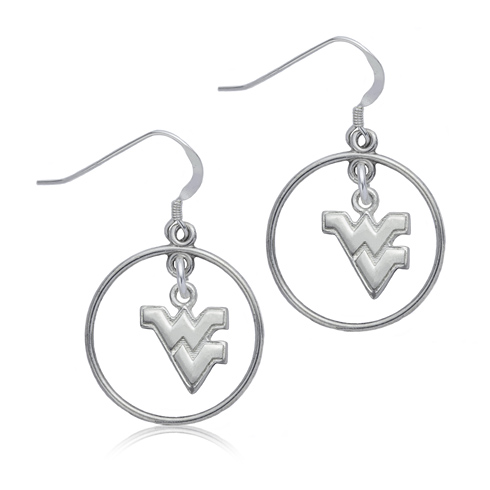 Sterling Silver West Virginia University Open Drop Earrings