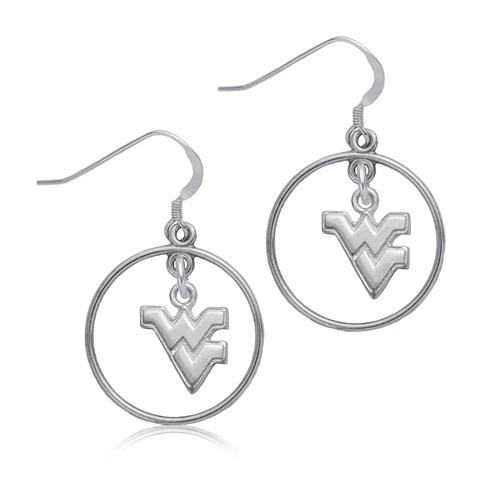 Sterling Silver West Virginia University Open Drop Earrings