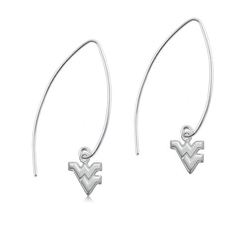 Sterling Silver WVU Long Fishhook Earrings