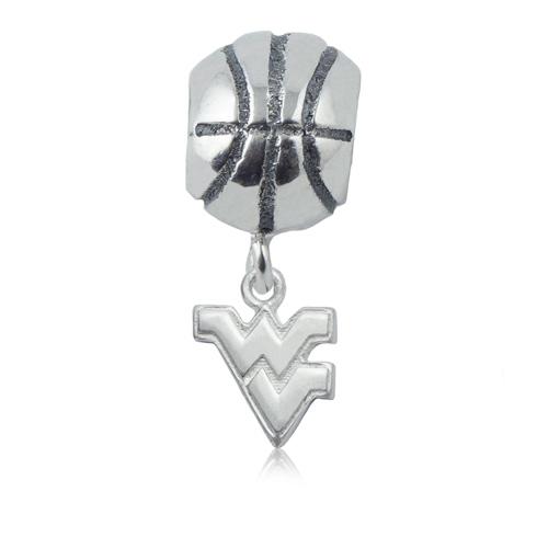 Sterling Silver West Virginia University Basketball Bead