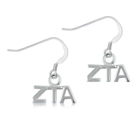 Sterling Silver Zeta Tau Alpha Dangle Earrings