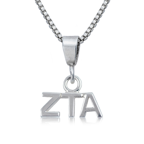 Sterling Silver 16in Zeta Tau Alpha Charm Necklace