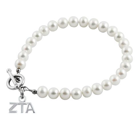 Sterling Silver Zeta Tau Alpha Pearl Bracelet