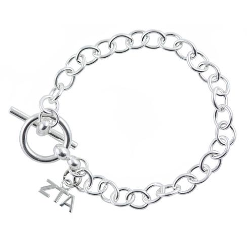 Sterling Silver Zeta Tau Alpha Link Bracelet