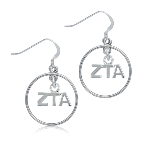 Sterling Silver Zeta Tau Alpha Open Drop Earrings