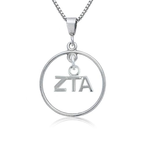 Sterling Silver 16in Zeta Tau Alpha Open Drop Necklace