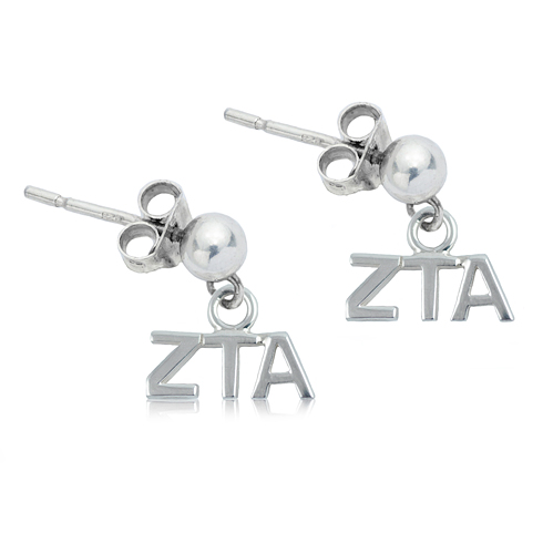 Sterling Silver Zeta Tau Alpha Post Earrings