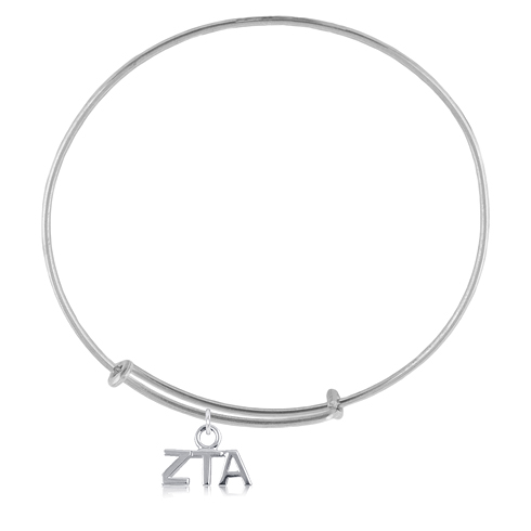 Sterling Silver Zeta Tau Alpha Adjustable Charm Bracelet