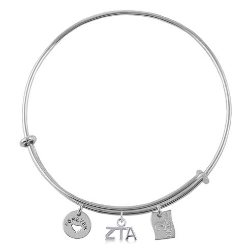 Sterling Silver Zeta Tau Alpha Adjustable Bracelet with Charms