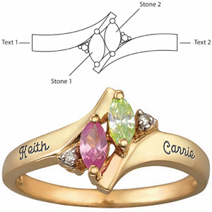 Promise ring with stone personalization