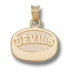 New Jersey Devils 7/16in 14k Puck Pendant