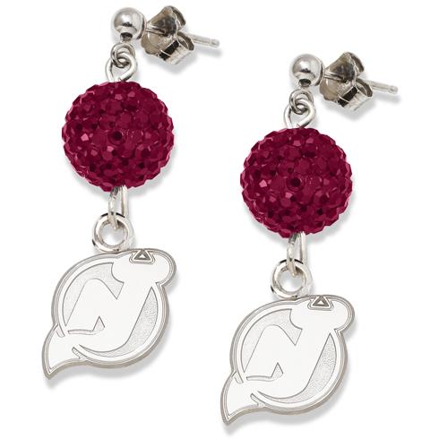 Sterling Silver New Jersey Devils Crystal Ovation Earrings