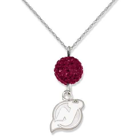 Sterling Silver New Jersey Devils Crystal Ovation Necklace