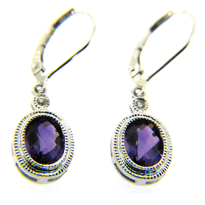 2.9 CT Amethyst Earrings with Diamonds - 14kt White Gold