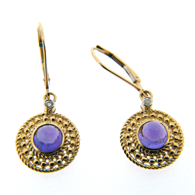 1.68 CT Amethyst Earrings with Diamonds - 14kt Yellow Gold