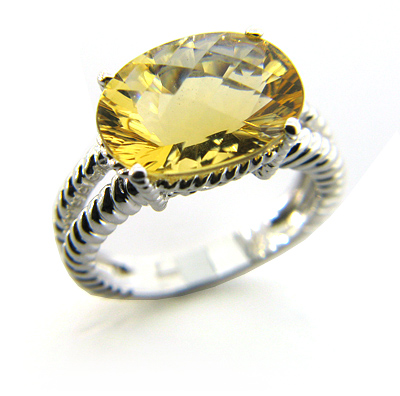 6.44 CT Citrine Ring - 14kt White Gold