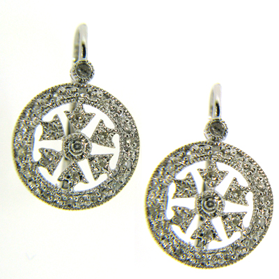 14kt White Gold Snowflake Diamond Earrings