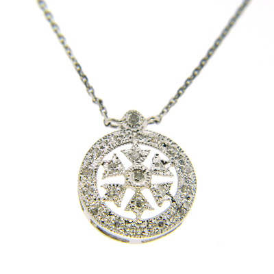 14kt White Gold Diamond Snowflake Pendant Necklace