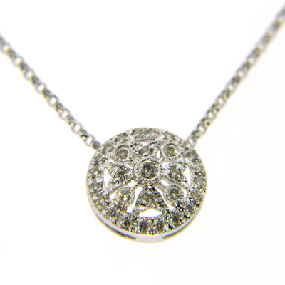 14k White Gold Diamond Round Snowflake Pendant Necklace
