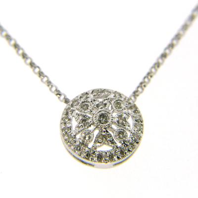 14kt White Gold Diamond Snowflake Pendant Necklace