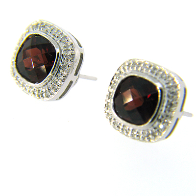 14kt White Gold 5.5 CT Garnet Earrings with Diamonds