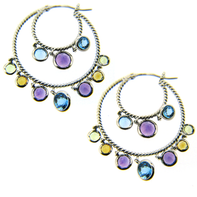 14kt White Gold Multi Color Genuine Gemstone Earrings