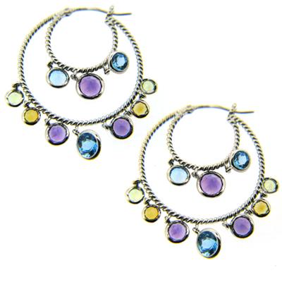 14kt White Gold Multi Color Genuine Gemstone Earrings