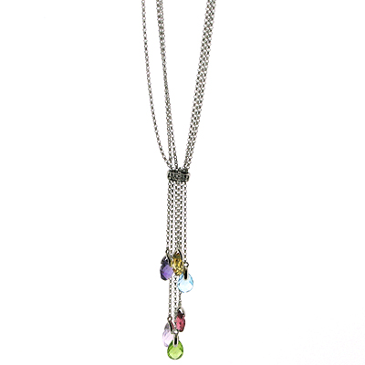 5.3 CT Gemstones with Diamond Necklace - 14kt White Gold