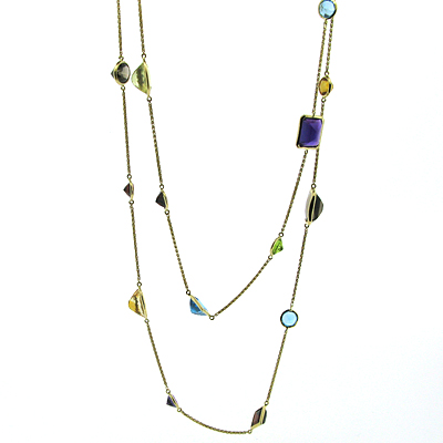 40 CT Multi-Gemstone Necklace - 14kt Yellow Gold