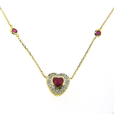 1/2 CT Ruby Necklace with Diamonds - 14kt Yellow Gold