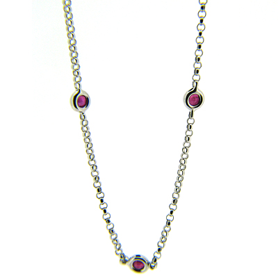 1.2 CT Ruby Necklace - 14kt White Gold