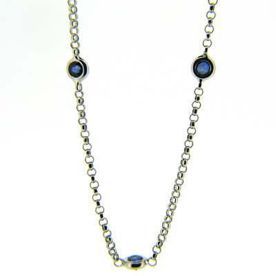 1.36 CT Sapphire Necklace - 14kt White Gold