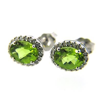 2.76 CT Peridot Earrings with Diamonds - 14kt White Gold