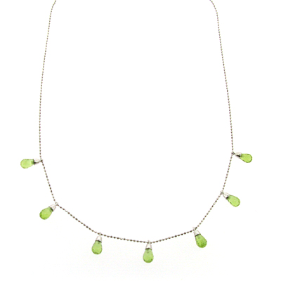 5.8 ct Peridot Necklace - 14kt White Gold