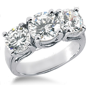 3.5 CT TW 14kt White Gold Moissanite 3-Stone Lucern Ring