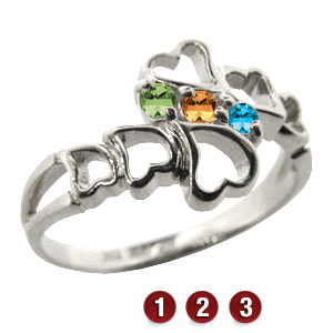 Family Hearts Mother's Ring Sterling Silver