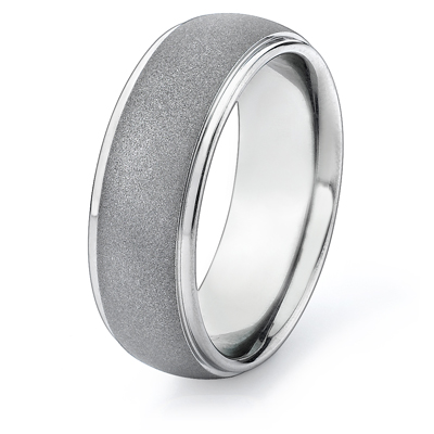 Titanium 8mm Band with Raised Center Sandblast Finish