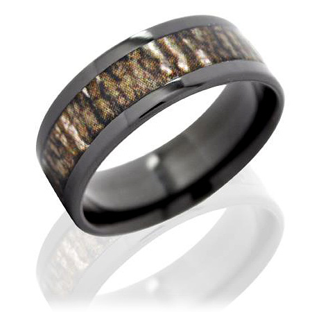 8mm Black Zirconium Ring with Mossy Oak Duck Blind Camo Inlay